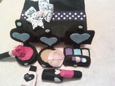 Pink and Black Paris Felt Makeup with New by lindaskraftykreation, $26.00
