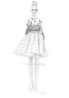 Fashion illustration completed using pencil and glitter. Based on Dennis Basso Spring/Summer 2013 collection. By Annabelle King x