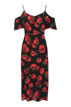 Rose Cold Shoulder Midi Dress