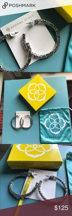 Kendra Scott hoop earrings Rare silver hoops. Gorgeous. NWT. Comes with duster and box. Kendra Scott Jewelry Earrings