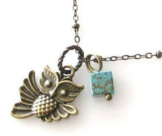 LOVE - I have a slight obsession with owls.. Flying owl necklace owl jewelry necklace owl by KriyaDesign, $16.95