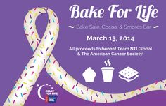 Relay For Life: Bake For Life Fundraiser. This I could do, and soooo much easier and more fun than sewing!!!