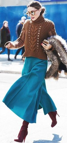 Olivia Palermo Brown Cableknit On Teal Culottes Fall Street Style Inspo