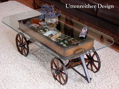 Vintage Wood Wagon Coffee Table, Glass Top Display Table, Rustic, Country, Western, Primitive, Repurposed. Get Your FREE DIY Cheat Sheet. Uttenreither Design