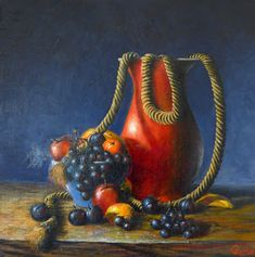 Rop, Vase & Fruit, An oil painting by Irish still life artist Chris Quinlan. An oil painting on linen panel, completed March 01 x framed (white) Still Life Artists, Still Life Oil Painting, Be Still, Vase, Gallery, Handmade Gifts, Irish, March, Vintage