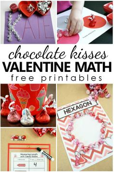 Valentine Math with Chocolate Kisses. Free printable sorting, counting, graphing and measuring activities for preschool, kindergarten, and first grade. Kids education tips for parents. Preschool At Home, Preschool Themes, Math Activities, Preschool Kindergarten, Child Development Activities, Creative Activities For Kids, Creative Play, Lesson Plans For Toddlers, Valentines Day Activities