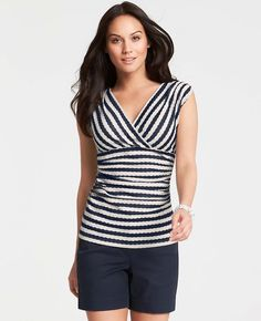 Ann Taylor - AT New Arrivals - Striped Crossover Ruched Top Great Minds Think Alike, Lace Tops, Work Fashion, Classic Looks, Navy And White, Work Wear, Crossover, Vintage Outfits, Ann Taylor