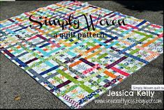 """This """"Simply Woven"""" quilt can be made from Jelly Roll strips. The pattern is shown on the Moda Bake Shop website. I love that it looks like so many bright ribbons randomly woven together. Quilting 101, Quilting Tutorials, Quilting Projects, Quilting Designs, Quilting Ideas, Diy Projects, Jelly Roll Quilt Patterns, Quilt Patterns Free, Free Pattern"""