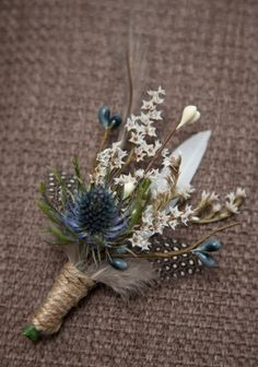 Mens Thistle and Feather by TinyBitMarvellous on Etsy, £6.75