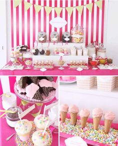 Or this table, wow!! Even more colour, and little extras like ice cream shaped cookies and cupcakes!!