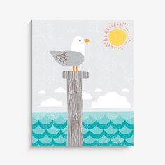Home Decor Nautical Nursery Wall Art - Seagull Art Print - 8x10