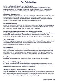"""Fighting Rules (Worksheet Rules for having calm discussions about disagreements -- """"Fair Fighting Rules""""Rules for having calm discussions about disagreements -- """"Fair Fighting Rules"""" Relationship Therapy, Communication Relationship, Relationship Advice, Relationship Repair, Relationship Fights, Family Communication, Communication Activities, Relationship Building, Fighting Fair"""