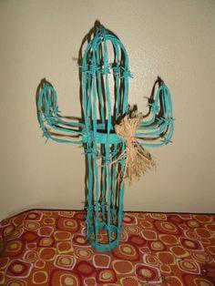 Folk Art Barbed Wire 3 D Western Cactus Sculpture Figure Home Decor Unusual | eBay