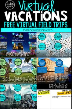 With school closings, I wanted my students to do something fun on their Spring Break. I created these Virtual Vacation Field Trips! You can use them for Spring Break OR as Virtual… Home Learning, Learning Resources, Fun Learning, Blended Learning, Mobile Learning, Learning Spanish, Learning Stations, Learning Websites, Listening Activities