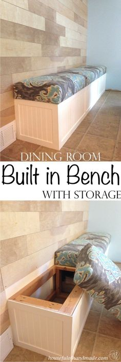 Room Built in Bench with Storage Dining room built in bench with storage from Houseful of Handmade.Dining room built in bench with storage from Houseful of Handmade. Kitchen Table Chairs, Dining Room Bench, Kitchen Benches, Dining Rooms, Dining Tables, Outdoor Dining, Built In Dining Room Seating, Wall Bench, Dining Room Storage
