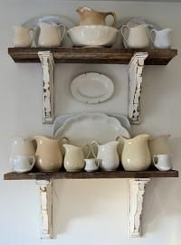 Shabby Love: Barn Wood Shelves  I could use the table legs for the braces