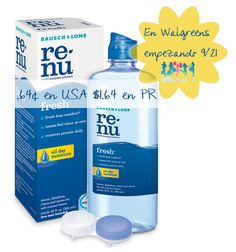 Renu Contact Solution a $0.64 en Walgreens, empezando 9/21!