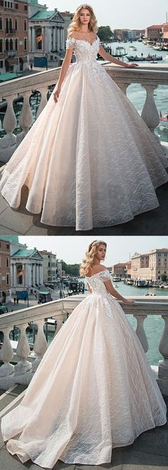 Gorgeous Lace Off-the-shoulder Neckline Ball Gown Wedding Dress With Lace Appliques & 3D Flowers & Beadings #weddingdress