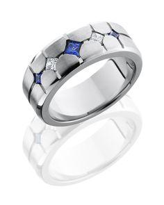Men's 8mm Cobalt Chrome Sapphire And Diamond Band