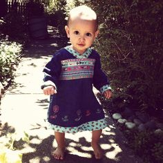 Baby Linden in a fabulous Oilily dress from eBay. Love Oilily!