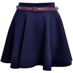 Hot Hanger Womens Belted Mini Skater Skirt 8-14 ($1.01) ❤ liked on Polyvore featuring skirts, mini skirts, skater skirts, flared skirt, blue circle skirt, blue skirt and belted skirt