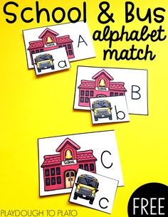 School and Bus Alphabet Match! A playful back to school way for kids to work on matching lower and upper case letters. Preschool Literacy, Pre Kindergarten, Literacy Centers, Alphabet Activities, Preschool Alphabet, Alphabet Crafts, Uppercase And Lowercase Letters, Alphabet Letters, Abc Phonics