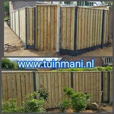 Een schutting erfafscheiding afscheiding tuinhek met antraciet betonpalen en onderplaten gecombineerd met geimpregneerde tuinschermen. Met een tuindeur met een ijzeren frame, dat uitzakken van de tuinpoort. #tuinmani. Natuurlijk zijn er verschillende tuinschermen verkrijgbaar, zoals van hardhout , composiet , lariks steigerhout , eiken , en bamboe @Tuinmani www.tuinmani.nl