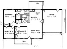 Small home design ideas 1200 square feet plans sq ft home plans 3 bedroom house no Basement House Plans, Ranch House Plans, House Floor Plans, 3 Bedroom Floor Plan, Bedroom House Plans, Garage Bedroom, House Plans One Story, Small House Plans, 2 Story Houses