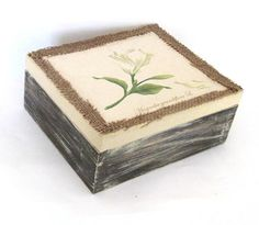 Rustic chic magnolia  decoupage wooden jewelries by ArtandWoodShop
