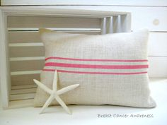 Breast Cancer Awareness Grainsack Style Pillow by HomesteadBurlaps, $36.00