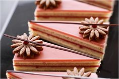 Nina Tarasova ( - Raspberry-anis Opera Cake from my master-class in Vladivostok Gourmet Desserts, Sweet Desserts, Plated Desserts, Just Desserts, Delicious Desserts, Baking Recipes, Cake Recipes, Dessert Recipes, Opera Cake