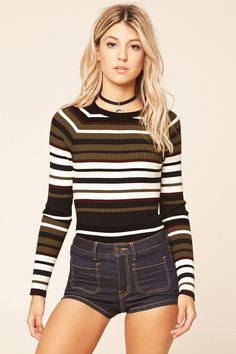 Forever 21 Contemporary - A ribbed knit sweater top featuring horizontal stripes, a round neckline, long sleeves, and a form-fitting silhouette.