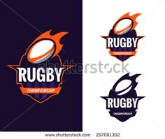 set of  colorful rugby logo labels. Vector illustration. - stock vector