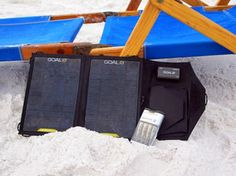 Goal Zero's Nomad 7 with the Guide 10.  The Guide 10 Plus will put a charge on my iPhone and iPad.  The solar panel will recharge the guide 10 while camping or just outside.