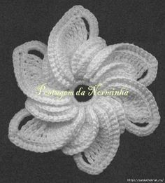 White crochet flower with diagram