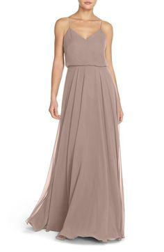 (color: blush) Jenny Yoo 'Inesse' Chiffon V-Neck Spaghetti Strap Gown available at #Nordstrom
