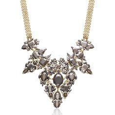 Adoriana Pearl and Gunmetal Crystal Regal Bib Necklace ($35) ❤ liked on Polyvore featuring jewelry, necklaces, yellow, pearl chain necklace, yellow pearl necklace, white pearl necklace, long chain necklace and yellow bib necklace