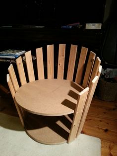 DIY  'barrel' chair I designed and built using recycled bed slats and mdf offcuts.