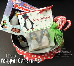 Snow Place Penguin Christmas Candy Treat bag - great for parties, neighbors, co-worker!  Supplies from the Stampin' UP! Holiday Catalog 2015. project by Patty Bennett at pattystamps.com