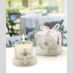 Gl Candleholder Featuring A Cross With Pink Heart Shaped Rhinestone Whole Favors Top Weddings Candle