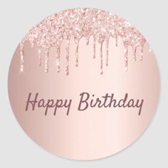 gold glitter background A sticker for a girly birthday party. A faux rose gold metallic looking background with an elegant faux rose gold, pink glitter drips, paint drip look Happy Birthday Sparkle, Happy Birthday Logo, Happy Birthday Printable, Happy Birthday Wallpaper, Happy Birthday Wishes Cards, Happy Birthday Celebration, Happy Birthday Cake Topper, Birthday Wishes Quotes, Happy Birthday Images