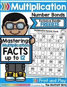 Why can't practicing multiplication facts be fun? Practice Multiplication Number Bonds with this exclusive bundle freebie. Multiplication Activities, Math Activities, Math Fractions, Multiplication Tables, Math 5, Numeracy, Third Grade Math, Second Grade, Math Word Problems