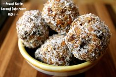 No-Bake Peanut Butter, Coconut, Date Power Bites.