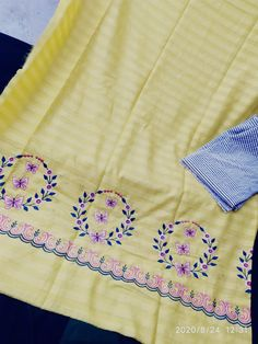 Saree Embroidery Design, Diy Embroidery Patterns, Embroidery Suits Punjabi, Embroidery On Kurtis, Hand Embroidery Flowers, Hand Work Embroidery, Embroidery Fashion, Textile Patterns, Machine Embroidery Designs
