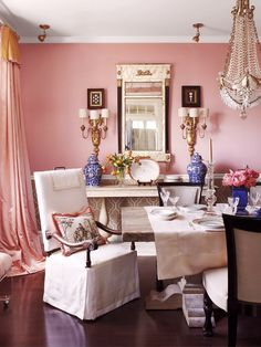 Pink dining room by designer Kelle Katillac - Photography by Bjorn Wallander for House Beautiful 2012