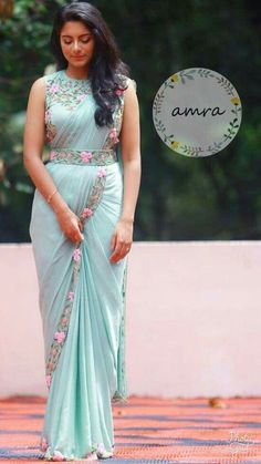 This Lite Blue color designer saree made from Soft silk fabric. - This Lite Blue color designer saree made from Soft silk fabric. And this fabric is Soft Materials. Saree Blouse Neck Designs, Half Saree Designs, Saree Blouse Patterns, Fancy Blouse Designs, Bridal Blouse Designs, Kurta Designs, Indian Blouse Designs, Designer Blouse Patterns, Saree Draping Styles