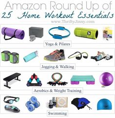 Get fit at home without breaking the bank with these Essential Home Workout Equipment items for yoga, cardio, running, weight training, pilates or swimming. Workout Room Decor, Workout Room Home, Best At Home Workout, Best Cardio Workout, Workout Rooms, At Home Workouts, Workout Fitness, Fitness Goals, Fitness Bike