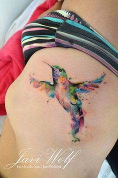 Viewing Gallery For - Watercolor Hummingbird Tattoo