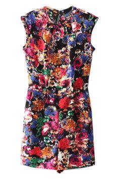 ROMWE   ROMWE Sleeveless Floral Print Playsuit, The Latest Street Fashion
