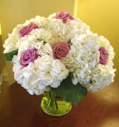 Image detail for -Roses nestled in a cloud of white hydrangea. Choose your rose color ...